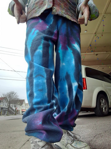 Straight-Leg Pocketed Tie Dyed Fleece Sweatpants