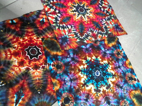 Ice-Dyed Mandala Bandana Scarves/Mini-Tapestries