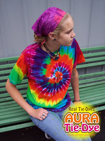 Short Sleeve Rainbow Spiral Tie-Dye