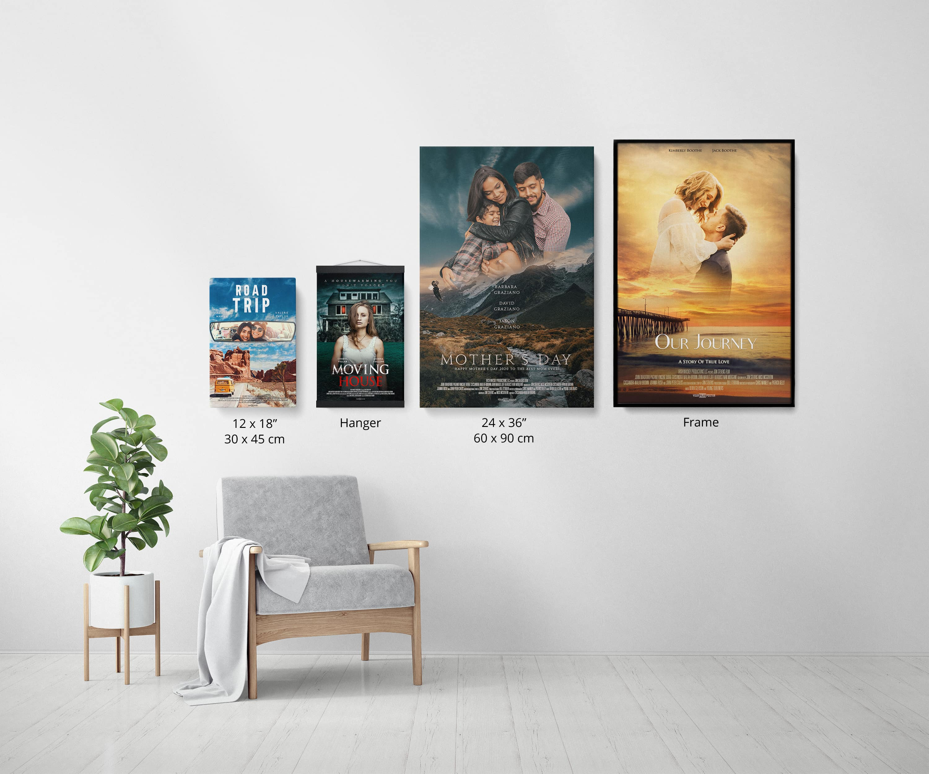 Your own personalized movie poster in two sizes, small and large, with either a hanger or a frame