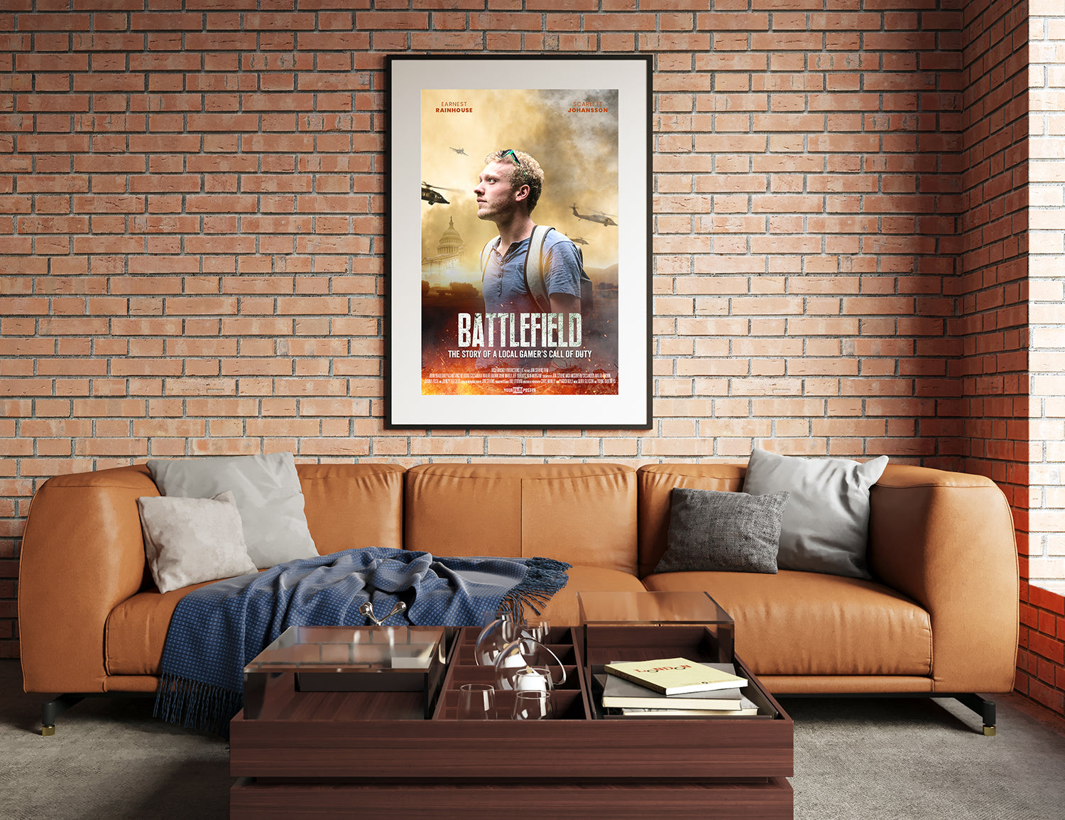 "Our customizable movie poster design ""Warzone"" on the wall in a modern living room, behind the couch"