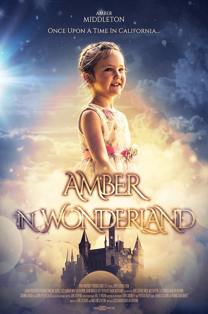 "A dreamy, Beauty and the Beast inspired, personalizable movie poster with a photo of a young girl in the clouds called ""Amber in Wonderland"""