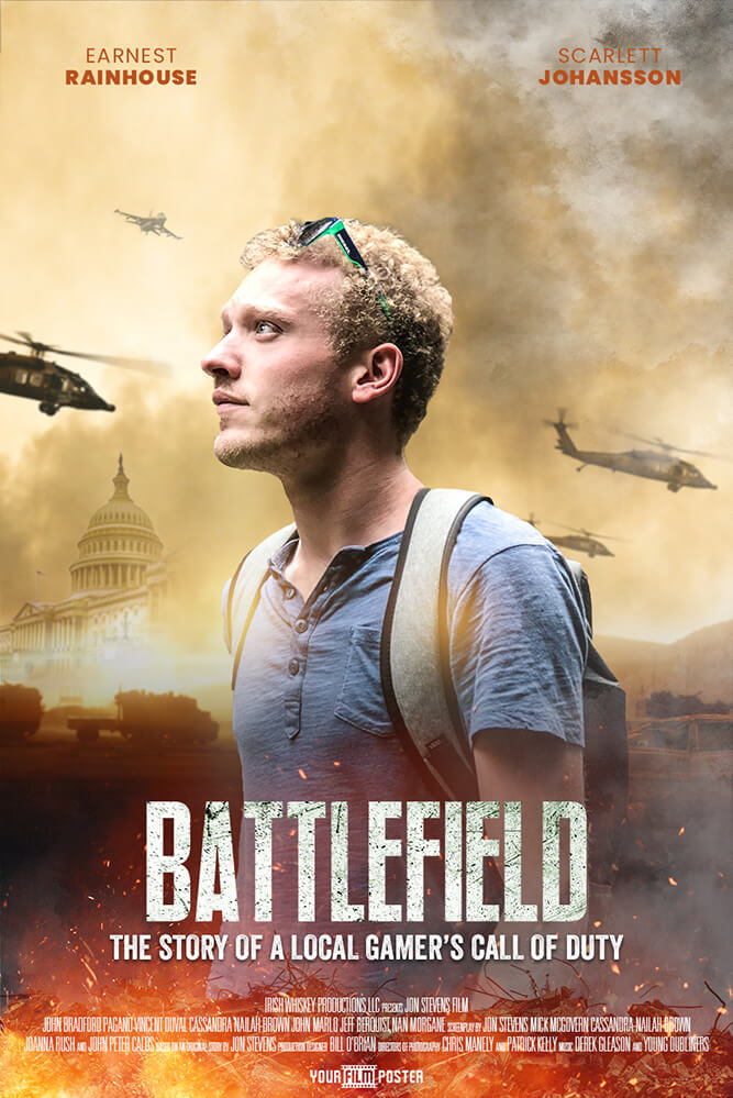 Customizable war movie poster, of a warzone with army helicopters and the white house. In the front is a photo of a young man