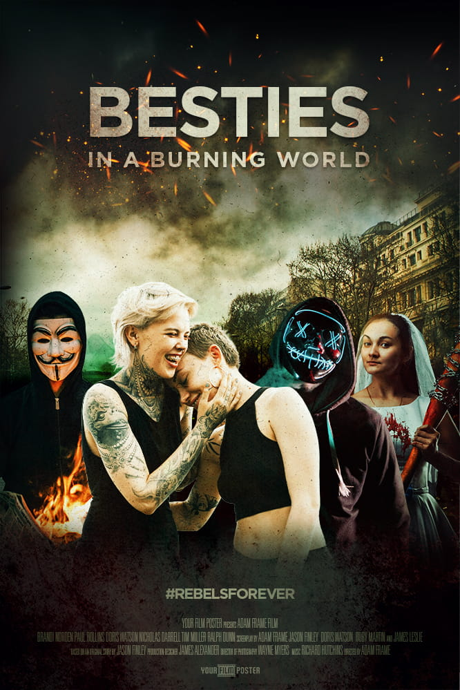 Personalizable movie poster inspired by The Purge. A group of characters wearing Anonymous, hockey or neon masks in a rioting street. Two alternative girls are hugging in front of the crowd.