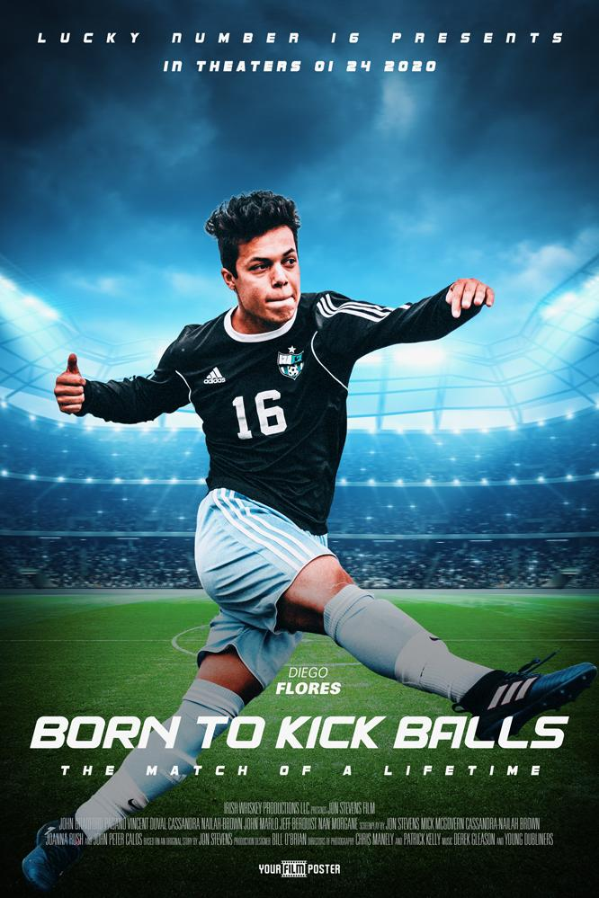 "Customizable movie poster of a football stadium called ""The Striker"", with a photo of a young man in soccer outfit"