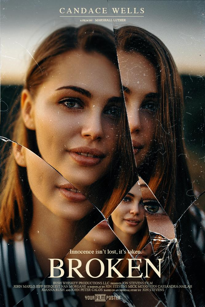 A customizable mysterious movie poster with a girl behind cracked glass