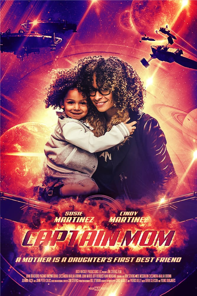 Marvel inspired orange/red personalizable movie poster with an exploding main title, planets and aircrafts in the background and a mother holding a daughter in the leading role