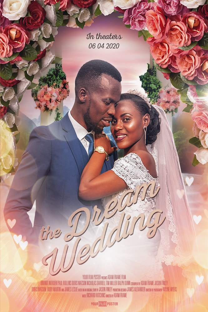 Wedding movie poster with customizable photo and titles showing a photo of a couple at their wedding