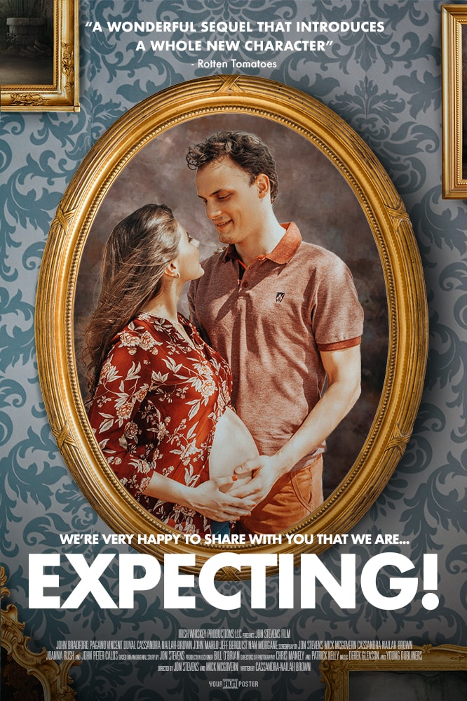 A baroque styled personalizable movie poster showing a photo of a man holding a pregant lady's belly in a yellow/gold frame hanging on a retro wallpaper wall