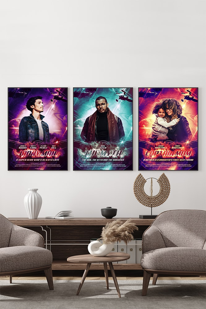 A wall showing three variants of a marvel inspired customizable movie poster, in three different colours