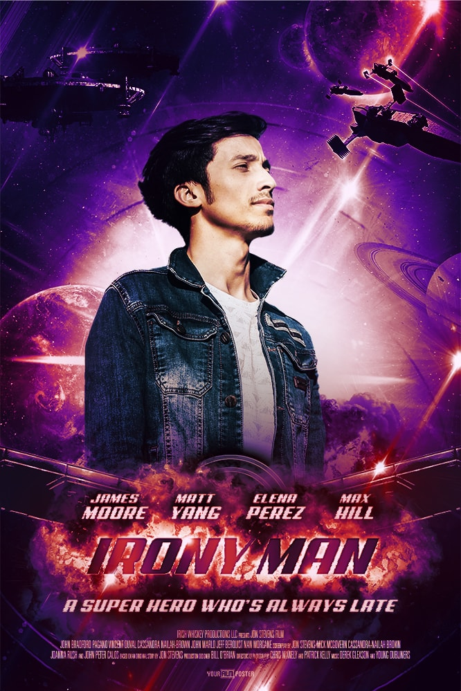 Marvel inspired purple personalizable movie poster with an exploding main title, planets and aircrafts in the background and a young man in the leading role