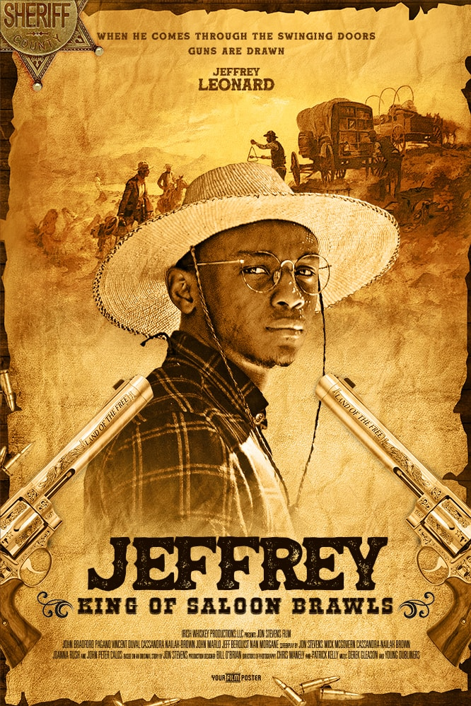 Western movie poster that looks like a wanted poster. A gun and a sheriff's badge are on the table. On the poster is a young man with a cowboy hat.