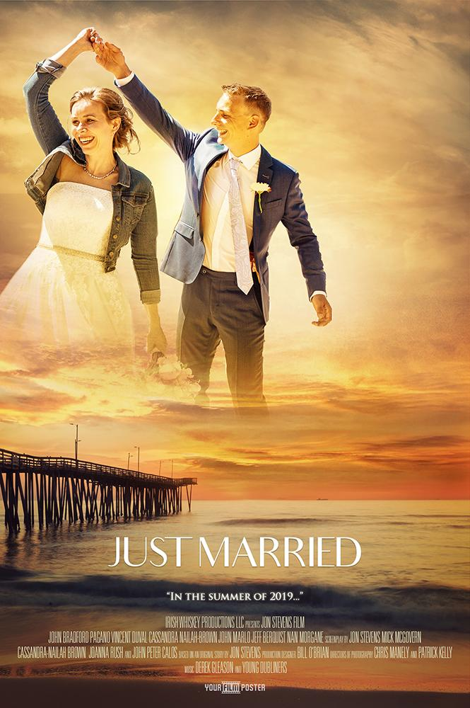 Romantic cliche personalizable movie poster of a sunset at a beach and a photo in the sky of a man and a woman in wedding clothes dancing