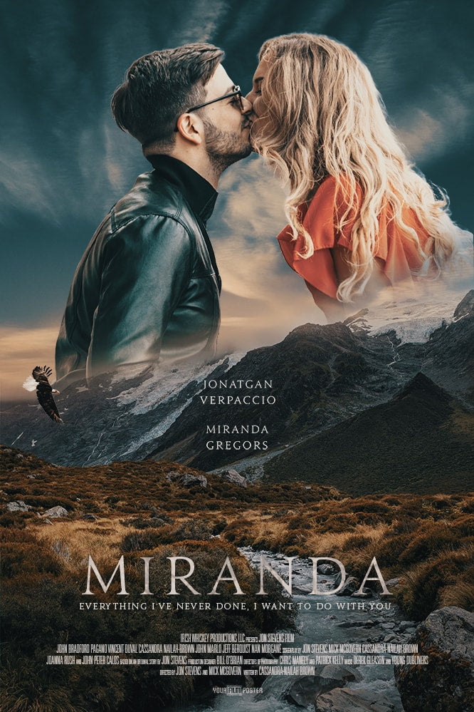 Romantic and adventurous customizable movie poster of a creek in a field with mountains in the background. In the sky is a photo of a couple kissing.