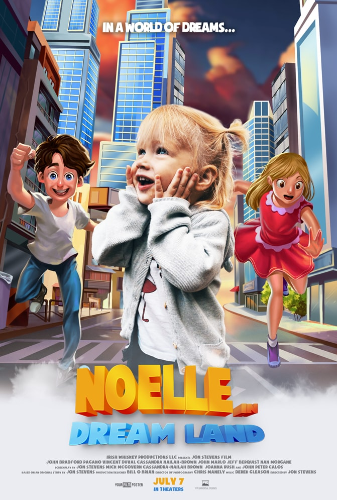 "Customizable 3D kids movie poster of a city street with two friendly characters running towards a real photo of a little girl. The movie is called ""Noelle in Dream Land"""
