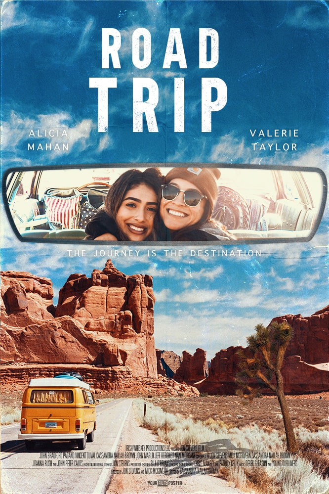 A customizable film poster showing a VW camper on an empty road in the desert, with a photo inside the rear view mirror of two friends on a roadtrip