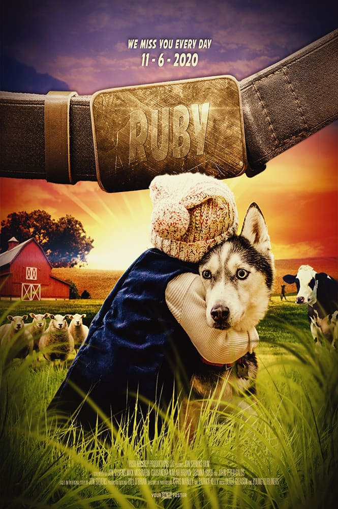 A personalisable movie poster of a farm setting with a small girl hugging a dog in the leading role