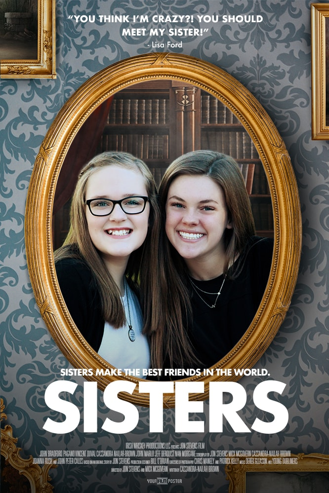 A baroque styled personalizable movie poster showing a photo of two sisters in a yellow/gold frame hanging on a retro wallpaper wall