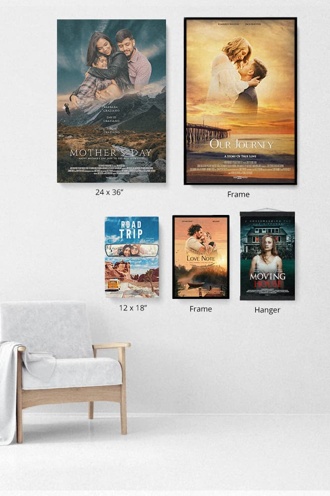 Your own movie poster printed on small or large prints, with frames or hangers in three colors.