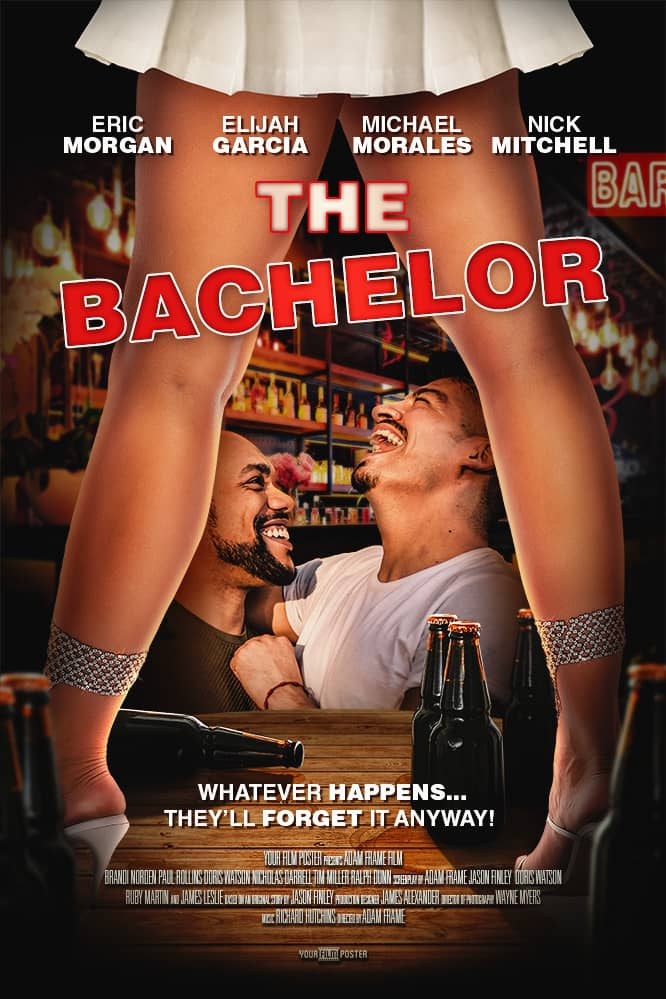 Personalizable comedy movie poster set in a bar, with a woman standing on the table, and two friends laughing called The Bachelor
