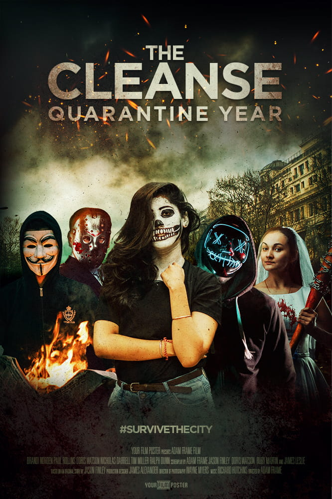 Personalizable movie poster inspired by The Purge. A group of characters wearing Anonymous, hockey or neon masks in a rioting street. A girl in halloween outfit is standing in front of them.