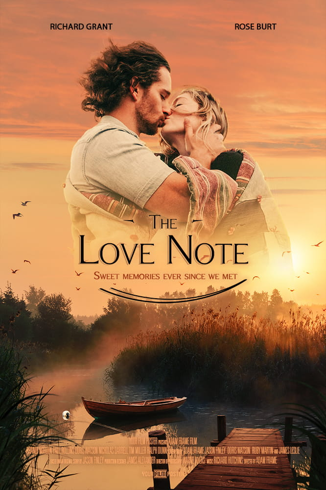 Your custom movie poster inspired on The Notebook. Upload your photo and fill in your own titles. This example is called The Love Note and shows a couple kissing.