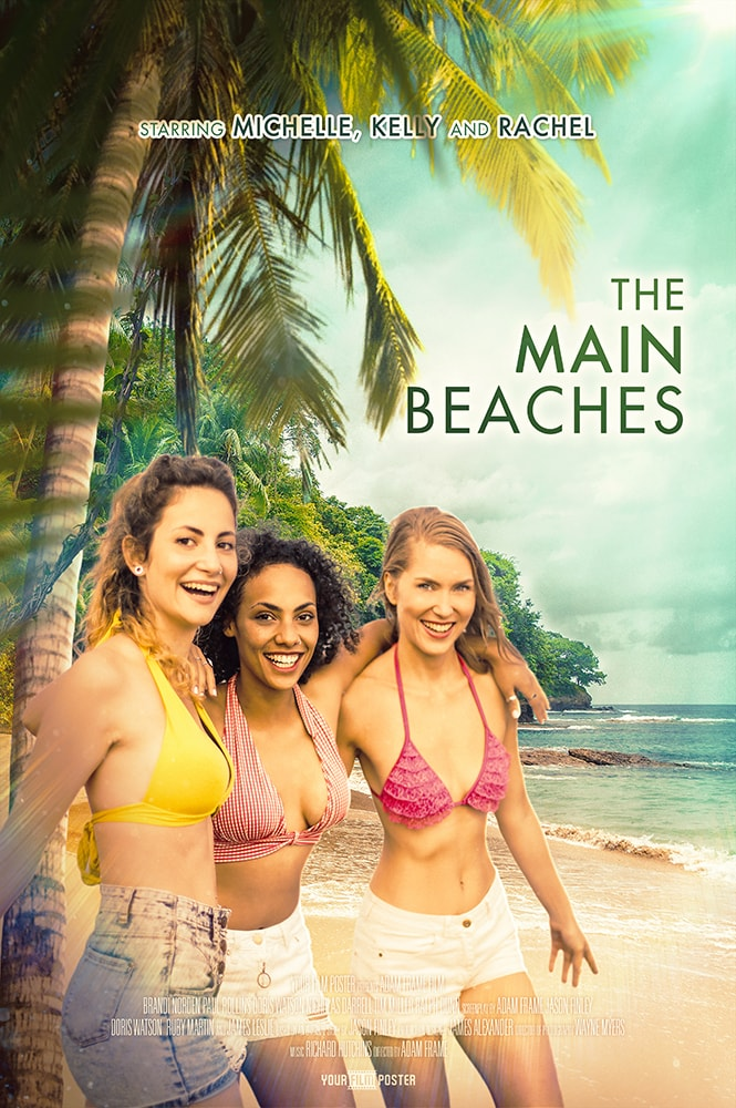 Tropical personalizable movie poster of a beach and a three girls in bikinis underneath a palm tree