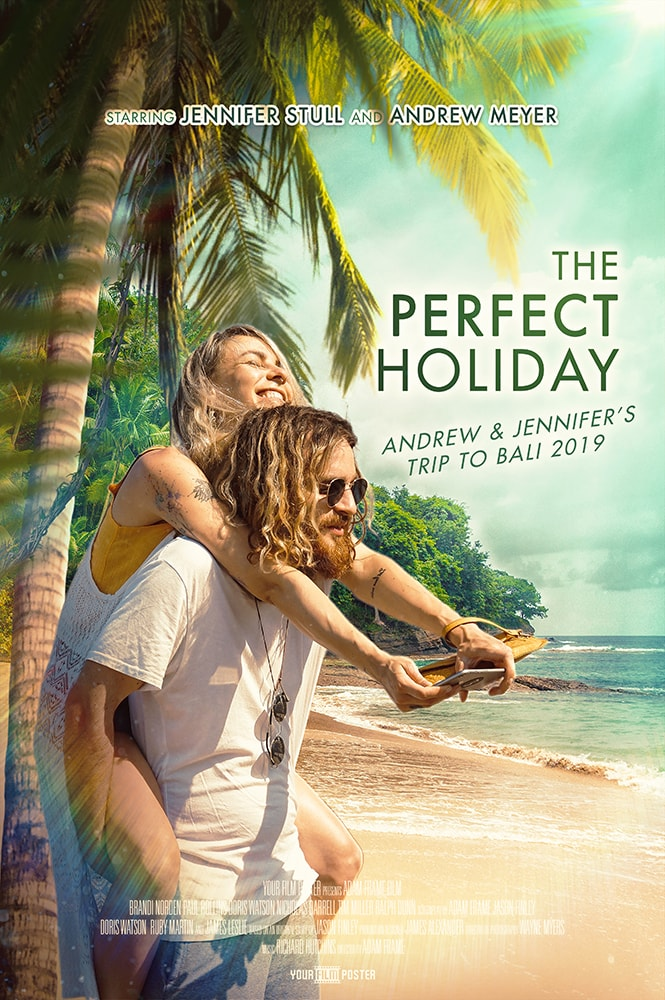 Tropical personalizable movie poster of a beach and a girl on a boy's back underneath a palm tree