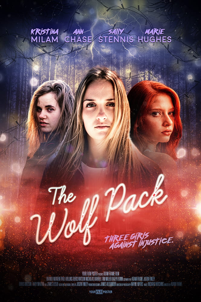 "Stranger Things inspired personalizable movie poster, with a blue and red dark forest with lightning and christmas lights. Three girls are standing in front of it, with a neon title saying ""The Wolfpack"""