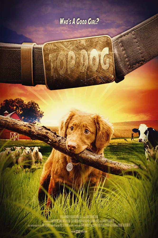 A personalisable movie poster of a farm setting with a young enthusiastic dog in the leading role
