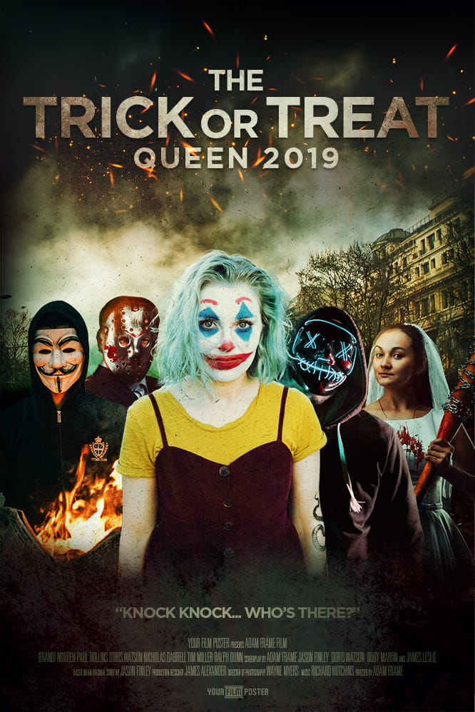 "Personalizable movie poster inspired by The Purge. A group of characters wearing Anonymous, hockey or neon masks in a rioting street. A girl dressed as a clown is standing in front of them. Titled ""Trick or Treat""."