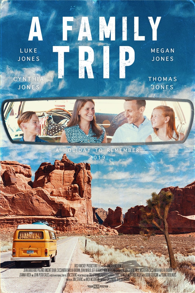A customizable film poster showing a VW camper on an empty road in the desert, with a photo inside the rear view mirror of a family on the backseat of a car