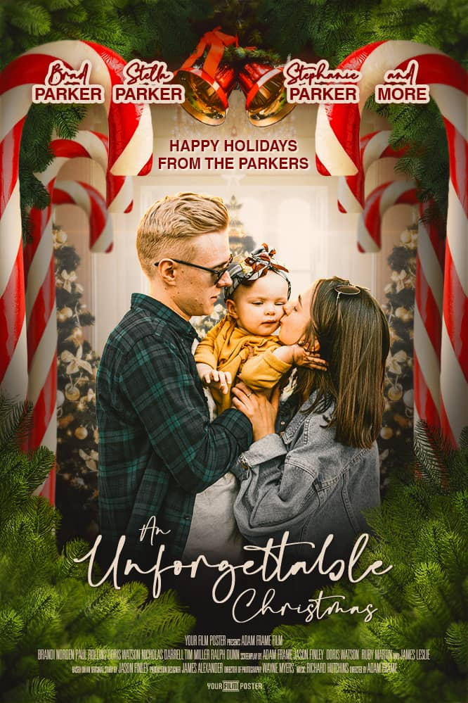 Hallmark inspired personalizable christmas movie poster showing a mother and father kissing their child