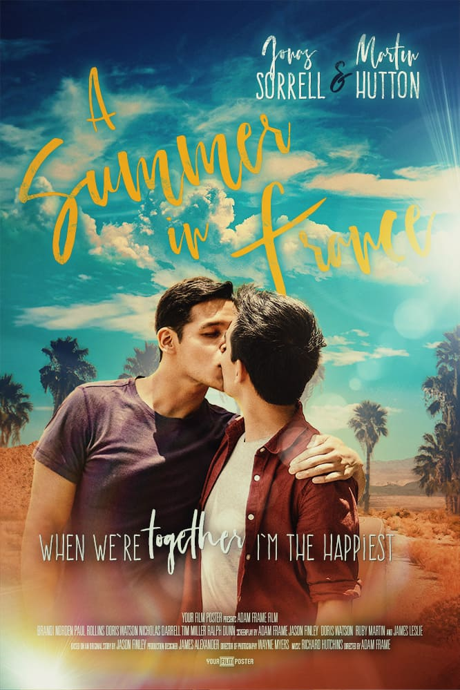 Romantic movie poster with blue sky and yellow titles, with two gay men kissing on a summers day in the desert.