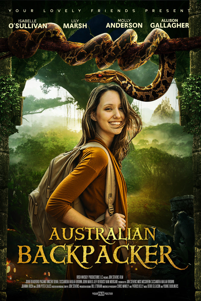 Custom adventurous movie poster with a photo of a young hiker and a jungle background with a large snake on a overhanging branch