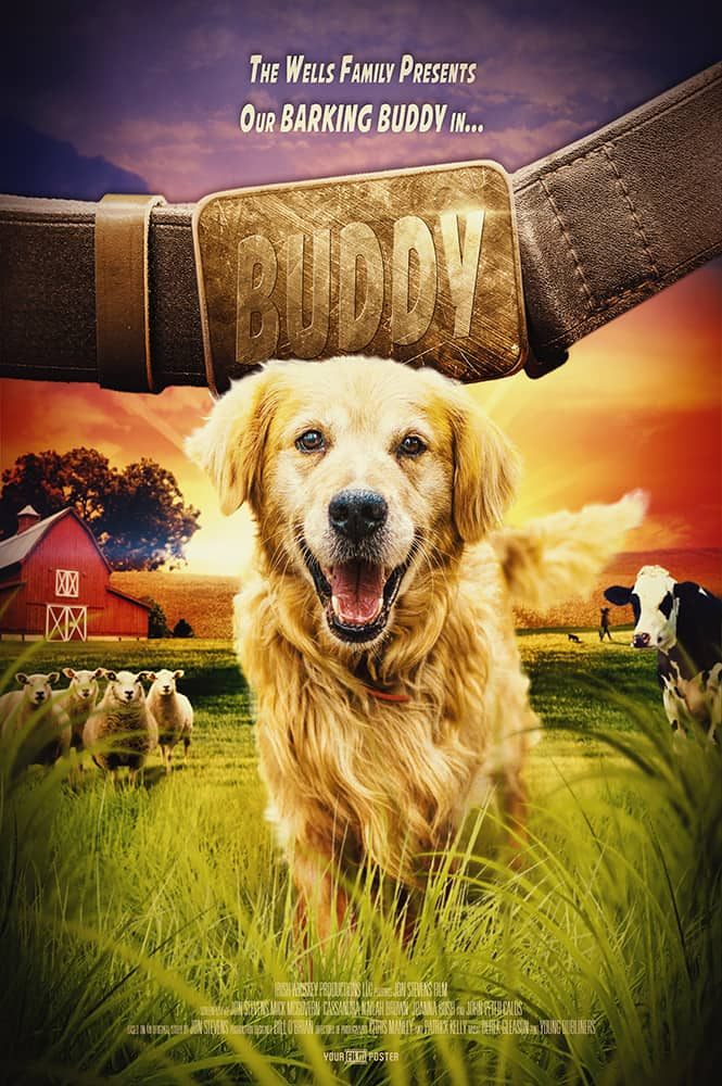 A personalisable movie poster of a farm setting with a dog called Buddy in the leading role