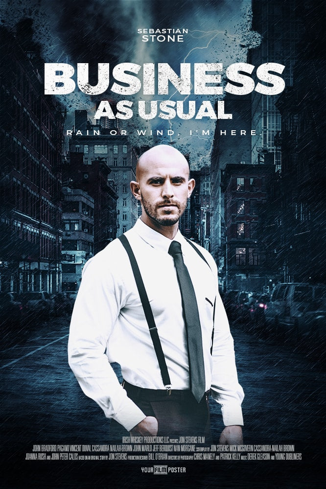 A personalizable action movie poster, showing an example of a man in a suit