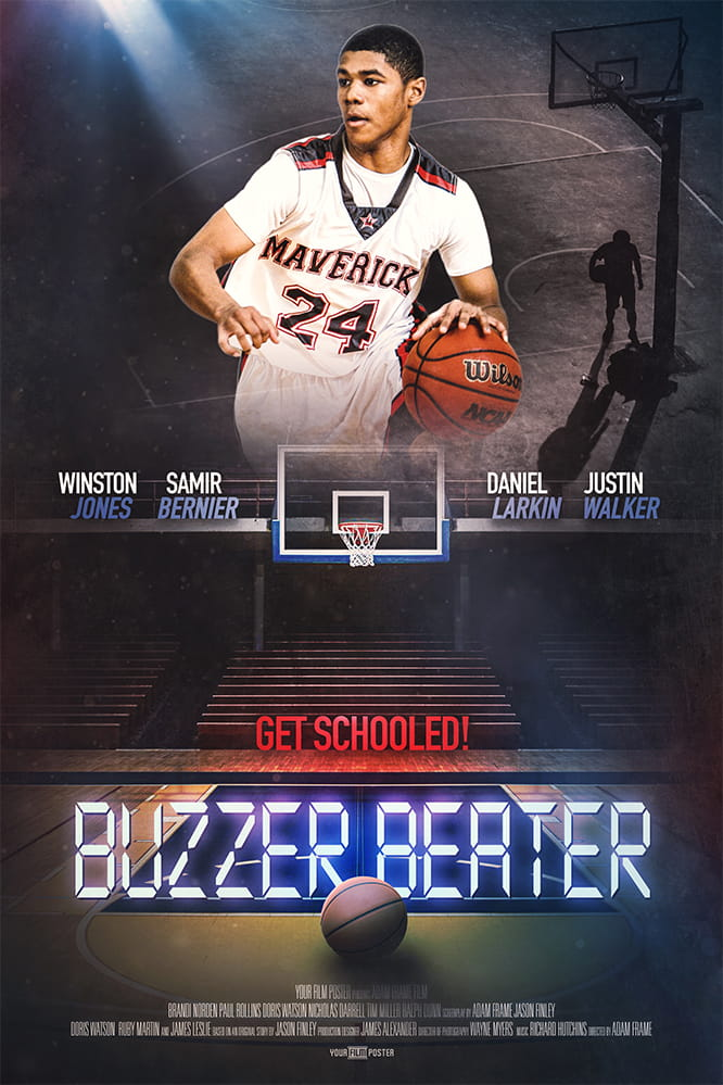 Basketball movie poster with your own photo and titles! This example shows a dark basketball field and a young man dribbling