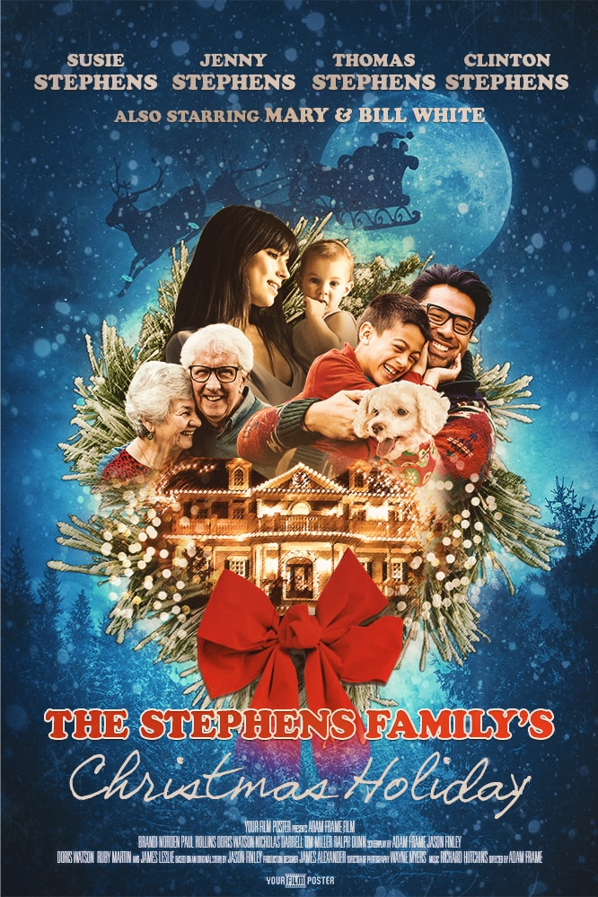 National Lampoon's Christmas Vacation inspired movie poster, with a family and a decorated house on a night sky background with santa's sleigh
