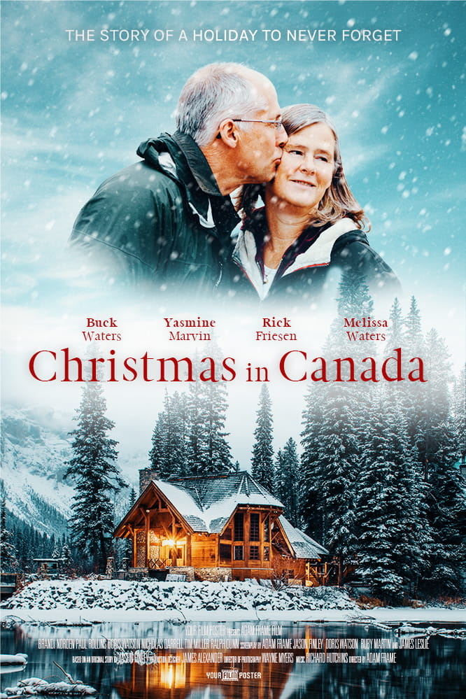 Personalizable Christmas film poster showing a cosy warm lake house in the snow, and an elderly man kissing his wife's cheek