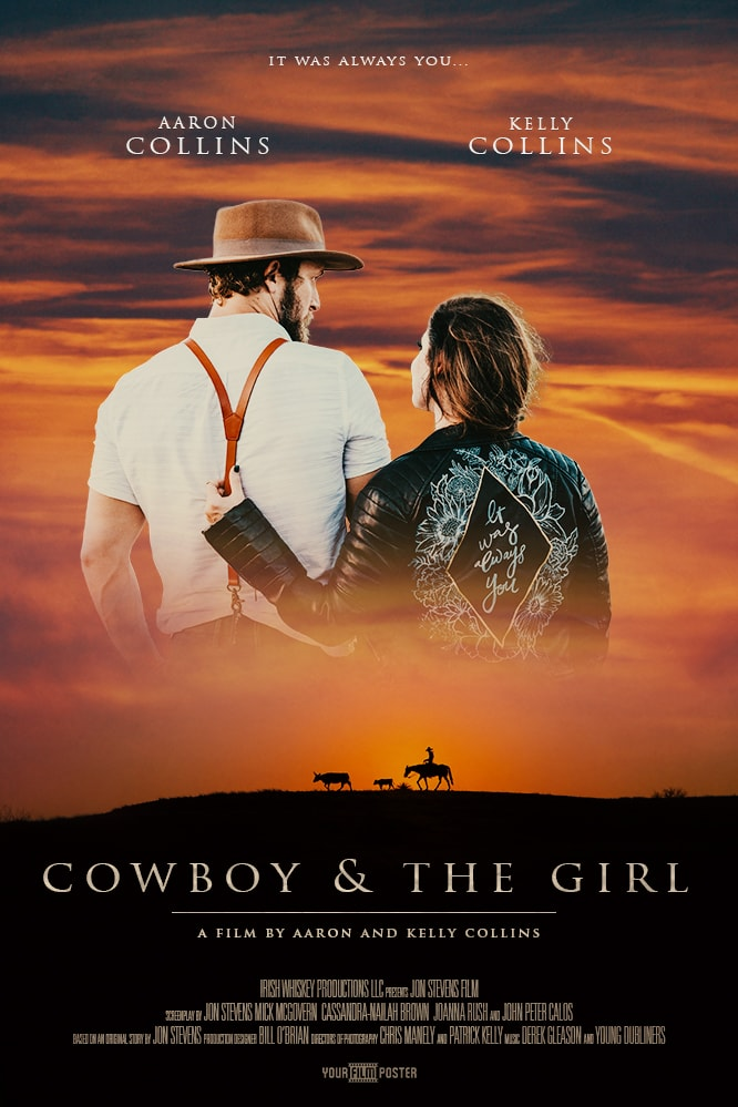 Western themed movie poster with a cowboy riding on the horizon, and a personalizable photo of a cowboy and girl