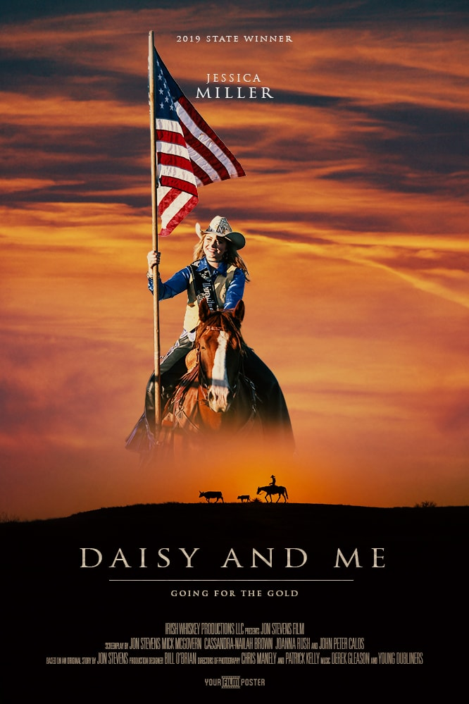 Western themed movie poster with a cowboy riding on the horizon, and a personalizable photo of a girl riding a horse whilst holding an american flag