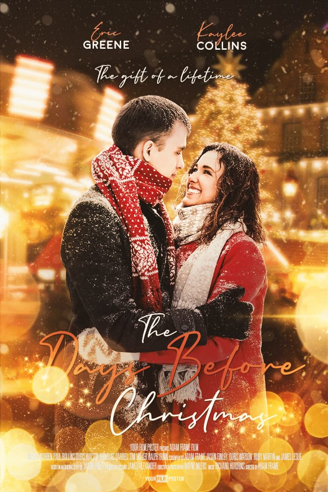 Customizable Christmas movie poster with a decorated city at night time and a couple in the snow smiling at each other