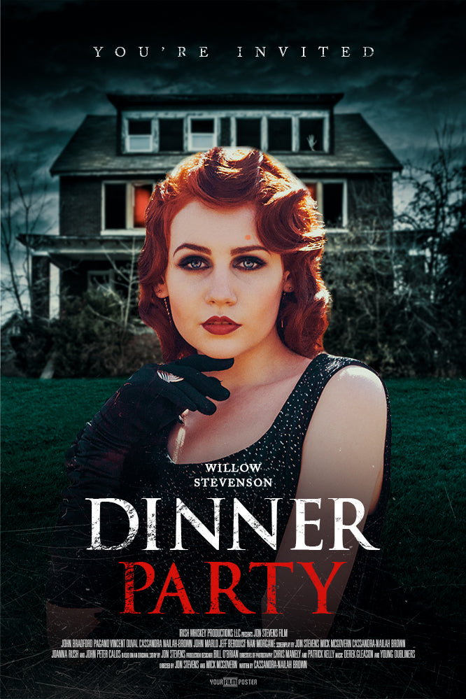 "Customizable horror movie poster of a girl standing in front of a haunted house, titled ""Dinner Party"""