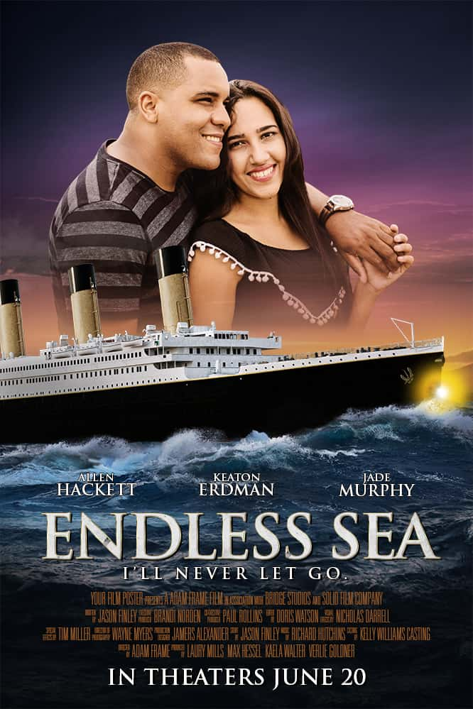 Titanic inspired personalizable movie poster with a couple arm in arm and smiling
