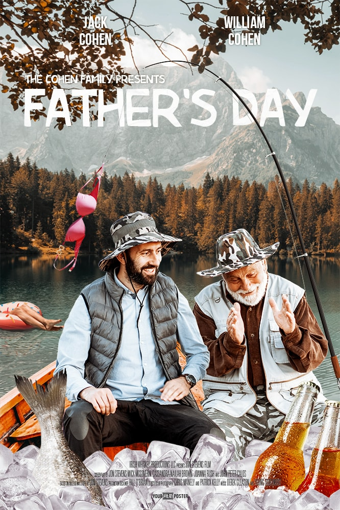 Personalizable comedy movie poster of a father and a son in a fishing boat with a bra hanging on the fishing rod and a lady in the background
