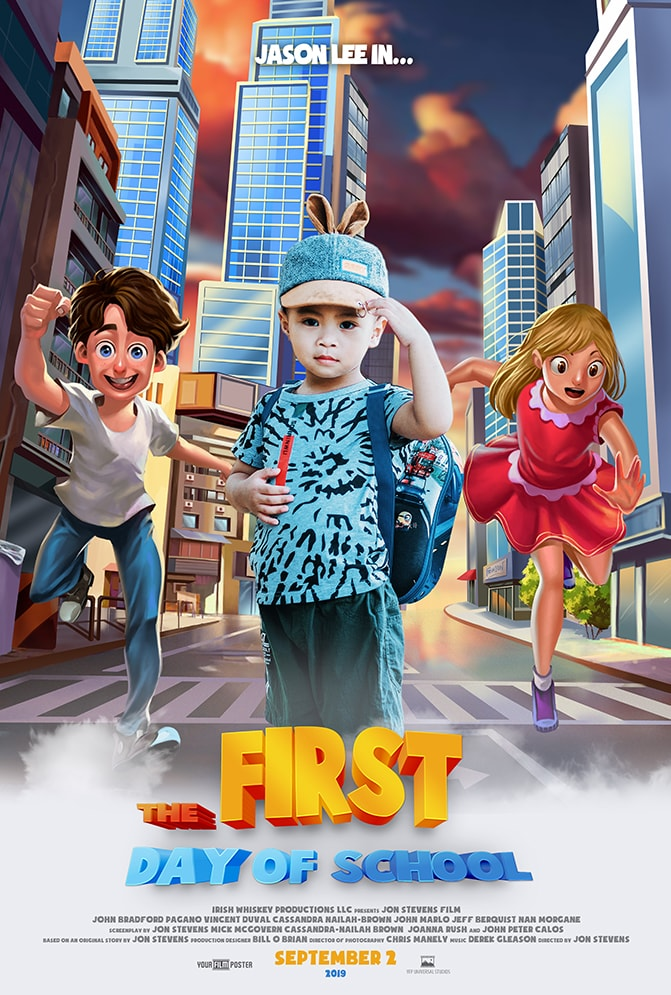 "Customizable 3D kids movie poster of a city street with two friendly characters running towards a real photo of a young asian boy. The movie is called ""The First Day Of School"""