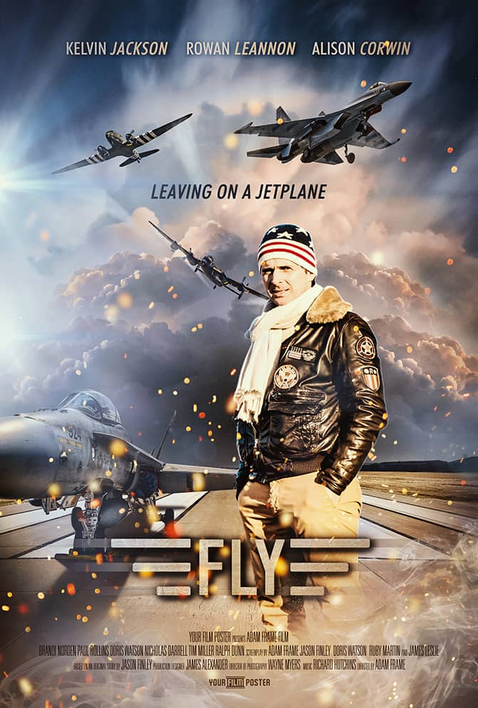 Customizable movie poster based on the film Top Gun, showing a runway with jet planes flying around and a photo of a man in brown aviation clothes