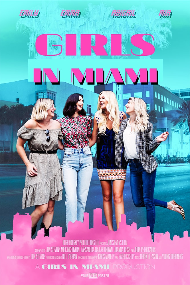 Miami vice inspired movie poster of a group of female friends on a Miami street