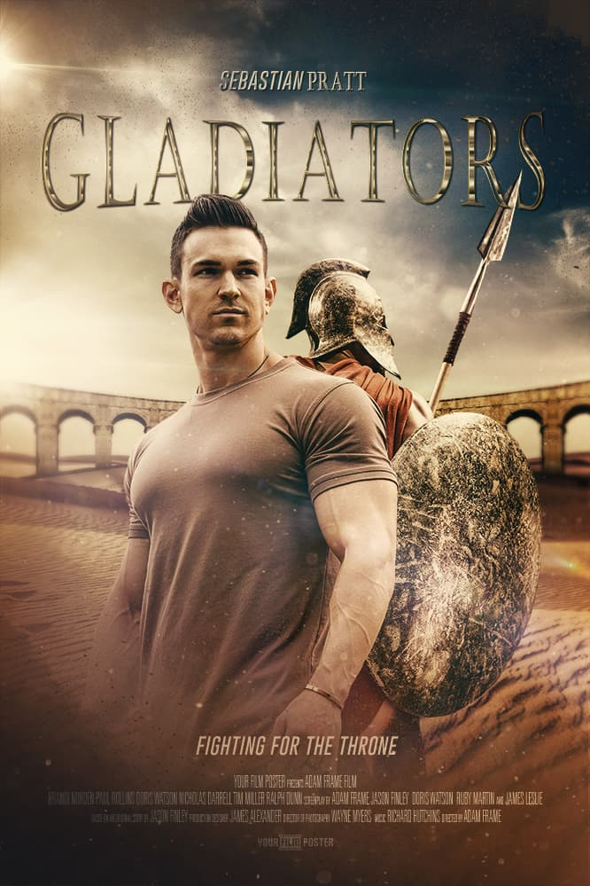 Custom movie poster with your own image, inspired on the movie Gladiator. Set in an amphitheater a man is standing back to back with a gladiator.